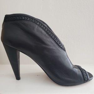 Vince Camuto Black Leather Peep Toe Booties 9